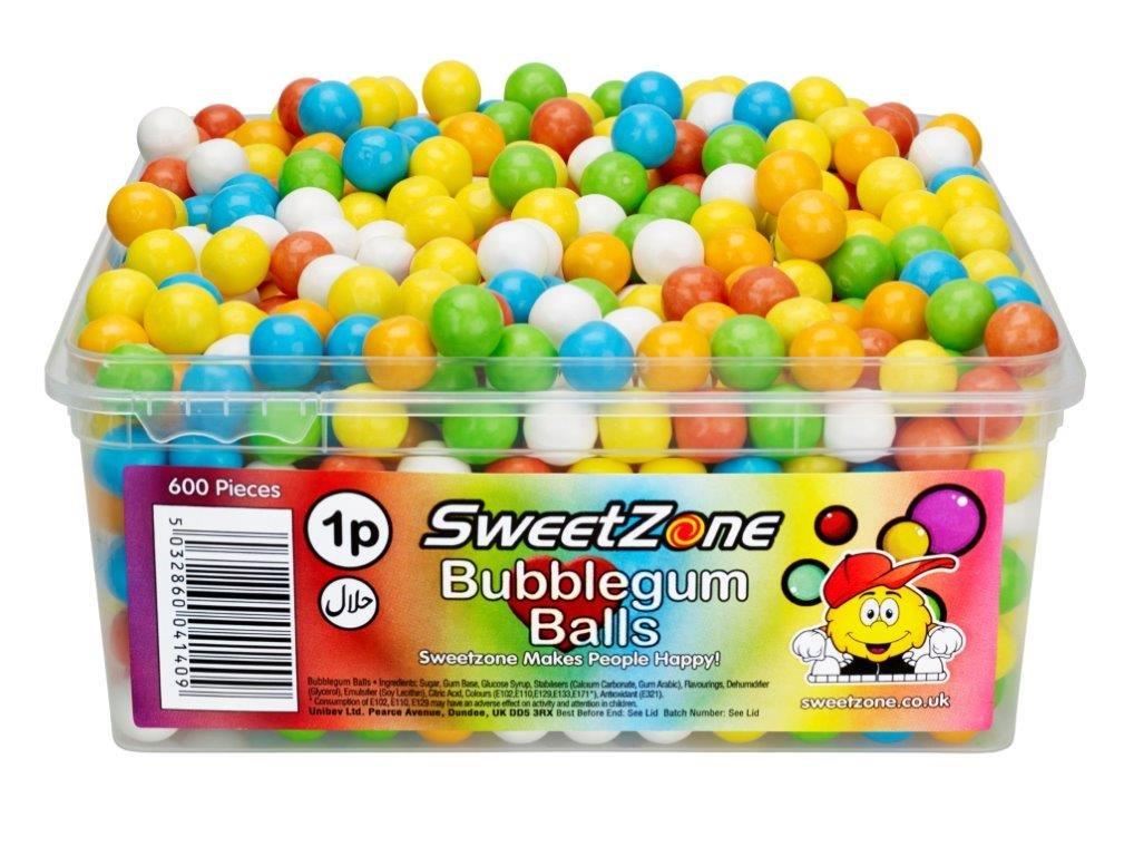 SweetZone 100% Halal Sweets - Mini Bubblegum Balls Tub of 600pcs