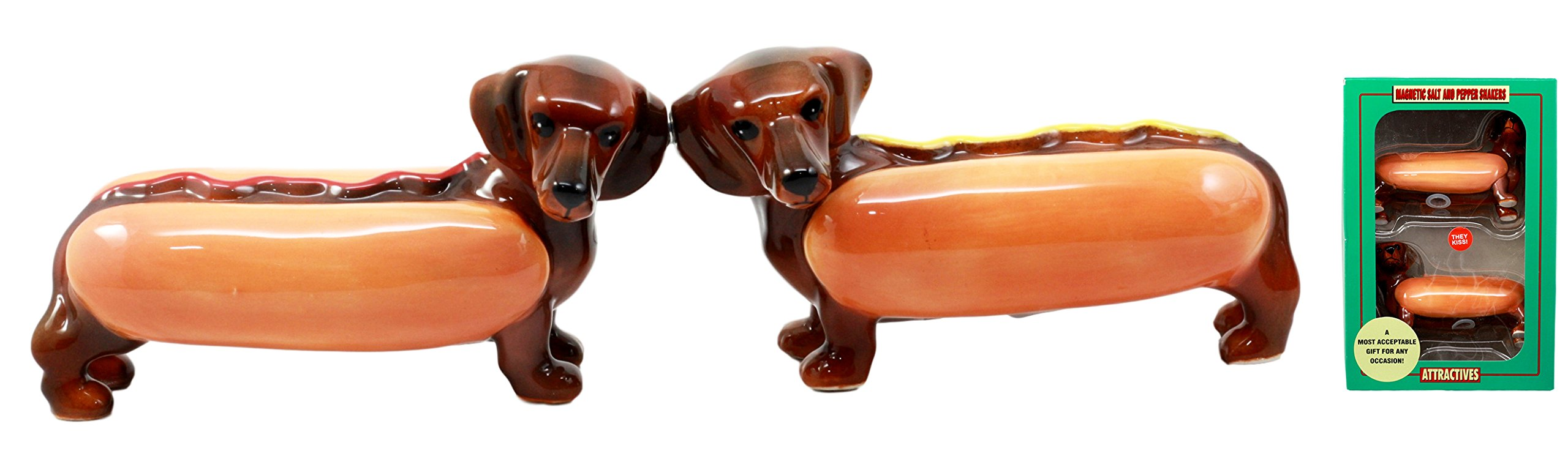 Ebros Doxies Collection Hot Dog Sausage Wiener Dachshunds Salt And Pepper Shakers Ceramic Magnetic Figurine Set 4.75''L