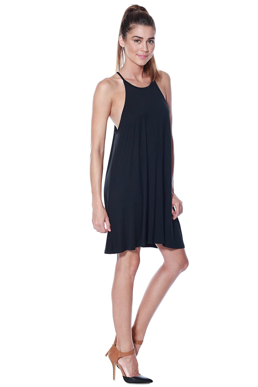 21c729ae8ba6 A+D Womens Modal Halter Tank Dress - Casual Knit Swing Tunic at Amazon  Women's Clothing store: