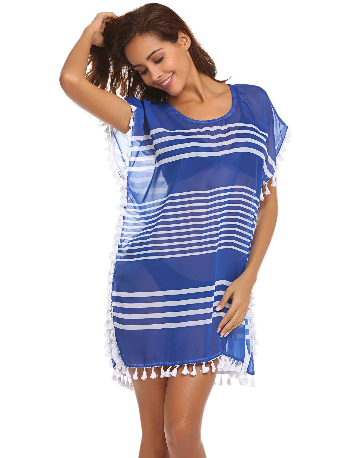 ADOME Women's Swimsuit Chiffon Bathing Suit Striped Beachwear Tassel Beach Cover up Striped Blue XL