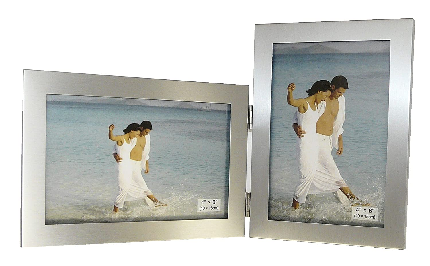amazoncom brushed aluminium satin silver color twin 2 picture double folding photo frame gift takes 2 standard 6 x 4 inch photographs 1 landscape and