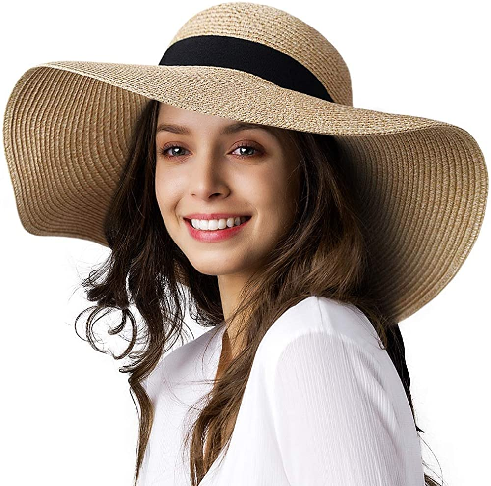 Womens Sun Straw Hat Wide Brim UPF 50 Summer Hat Foldable Roll up Floppy Beach Hats for Women at  Women's Clothing store
