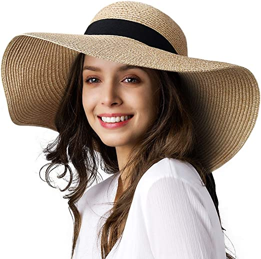 Womens Sun Straw Hat Wide Brim UPF 50 Summer