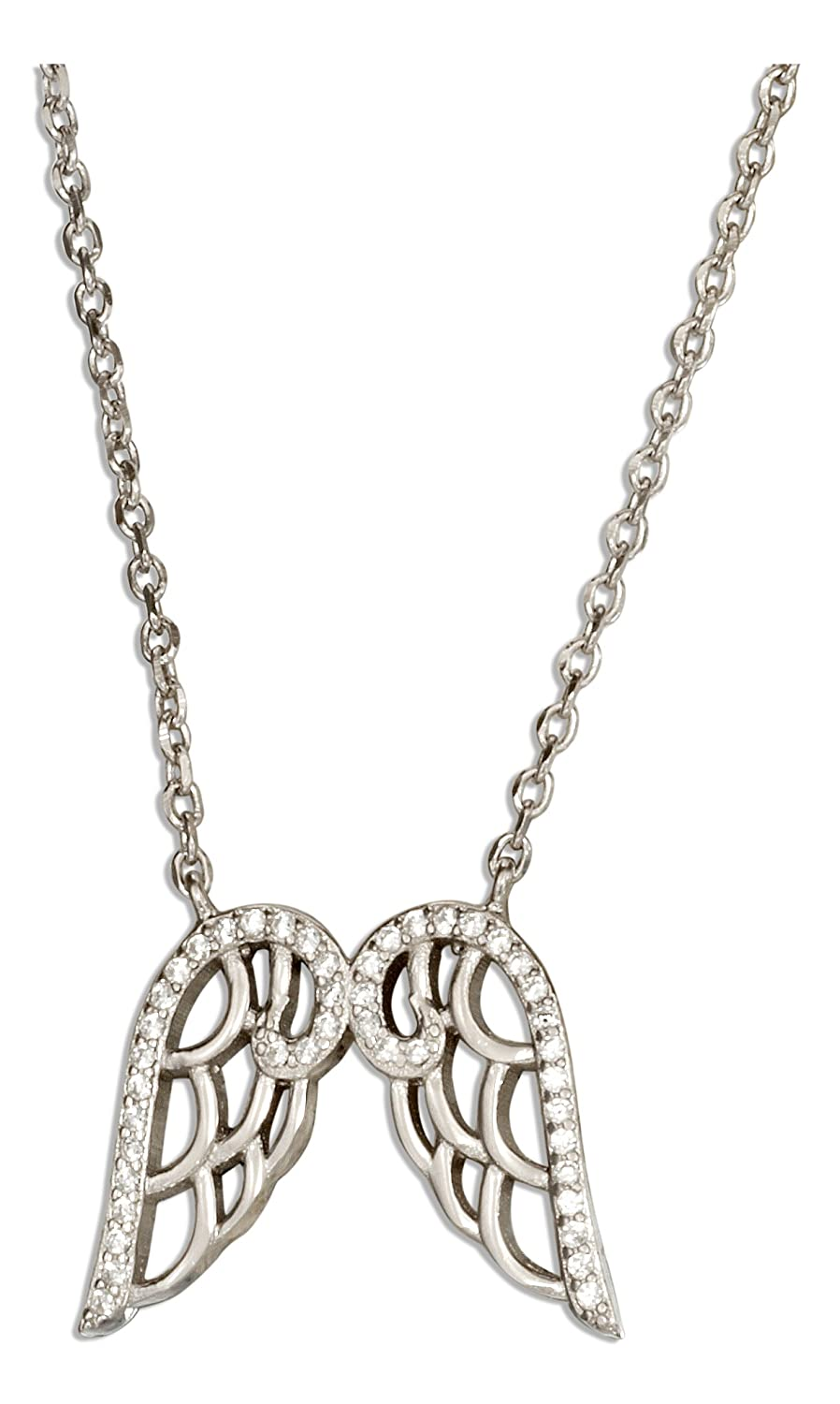 Sterling Silver 16 inch to 17 inch Adjustable Micro Pave Cubic Zirconia Angel Wings Necklace