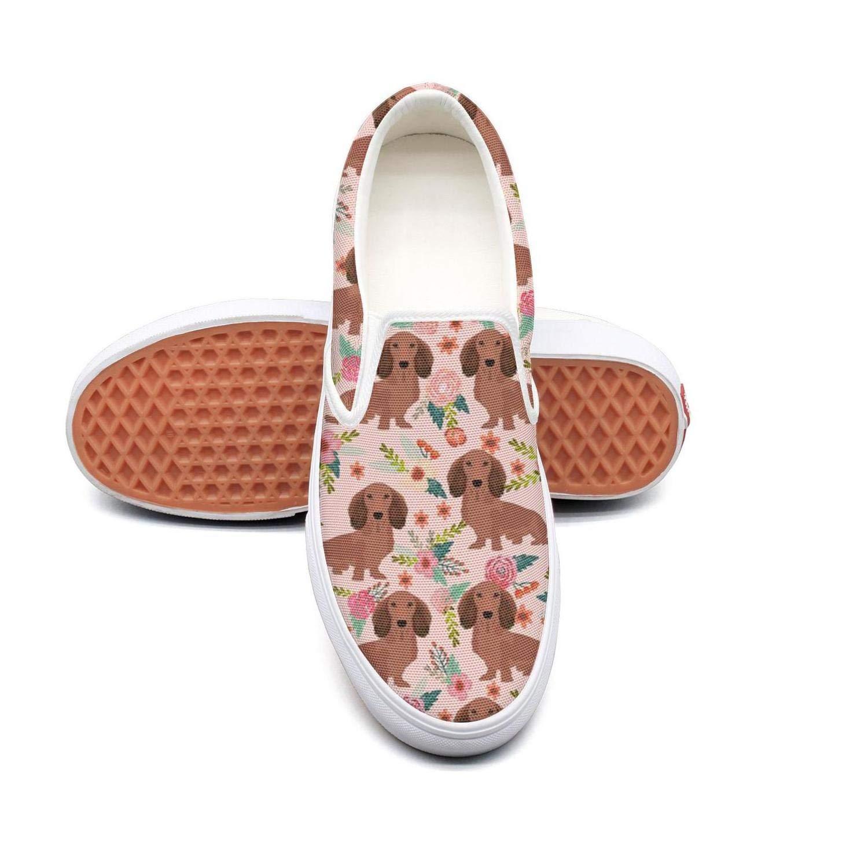 RegiDreae Canvas Slip on Sneakers for Women Cute Corgi Head and Beautiful Flowers Florals Fashion Sneaker