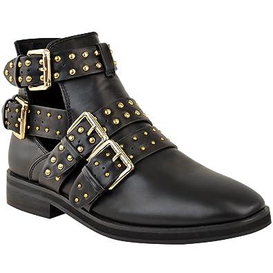8ee89db833b14f Damen Biker-Stiefeletten mit Nieten - Chelsea Boots mit Cut Outs    Schnallen - Schwarz