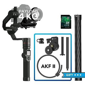 Feiyu Tech Feiyu Ak4000 3 Axis Dslr Gimbal Stabilizer, Come W/Follow Focus Ii,V3 Tripod, Carbon Fiber Extension Bar, 8.8 Lbs Max Load, Compatible With Canon Eos Series, Nikon & Sony Series Dslr Camera by Feiyu Tech