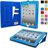 iPad 2 Case, Snugg Executive Electric Blue Leather Smart Case Cover [Lifetime Guarantee] iPad 2 iPad 2 Protective Flip Stand Cover With Auto Wake/Sleep