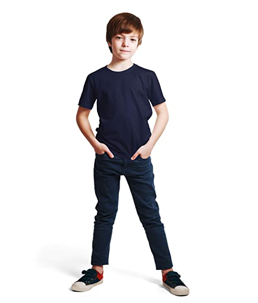 ad6e7a0f5e Haoser Boy's Navy Blue Cotton Solid Half Sleeves Comfort Regular Fit T-Shirt  (Blue_45