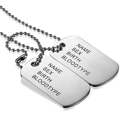1d62f45d927 JewelryWe Bijoux Pendentif Collier Homme Gravure Personnalisation Offerte  Double Plaque Militaire Dog Tag Acier Inoxydable Fantaisie