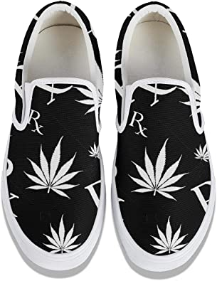 Classic Sneakers Unisex Adults Low-Top Trainers Skate Shoes Colorful Weed Marijuana Leaves