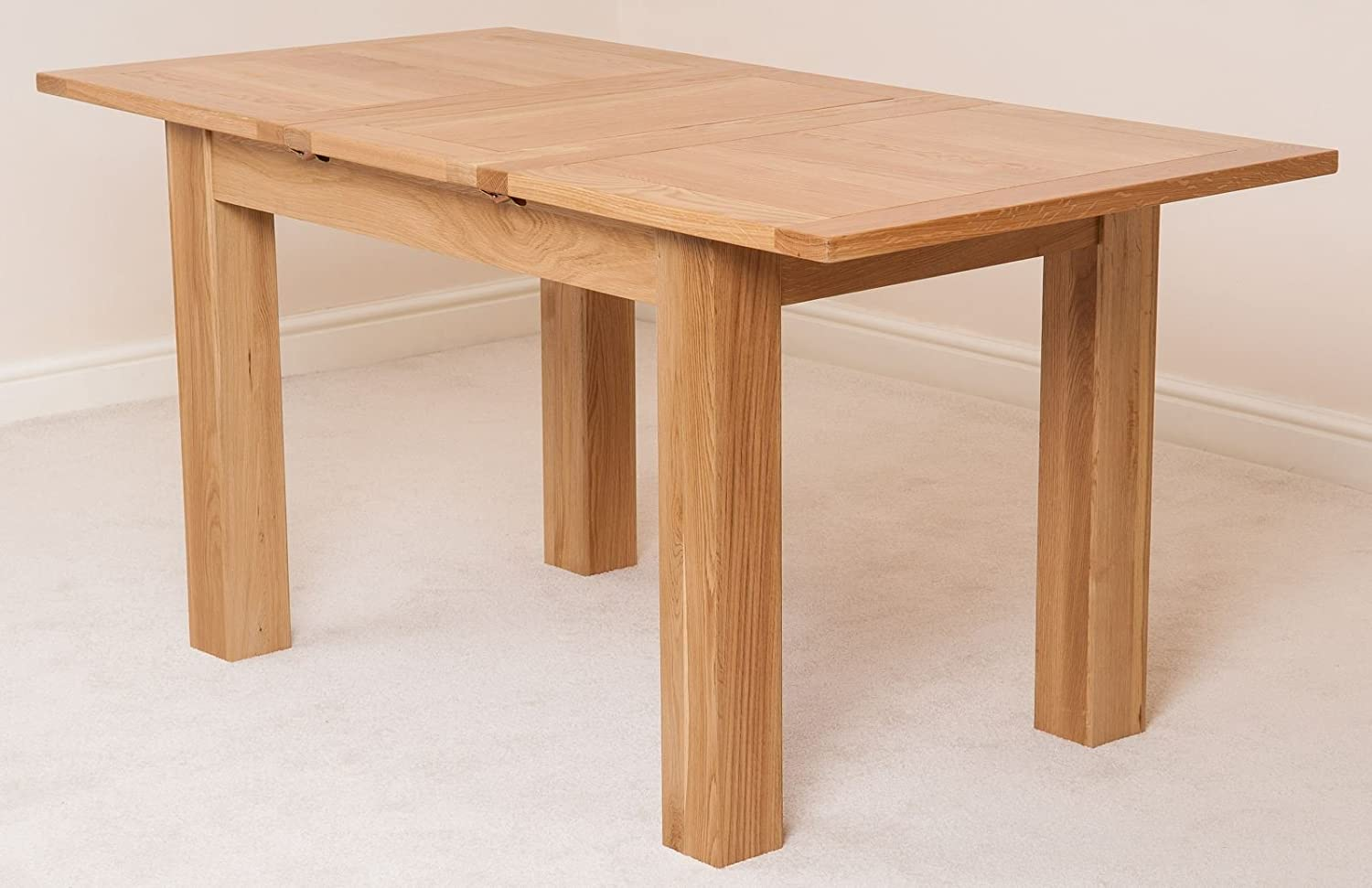 Oak Extendable Dining Table 5ft Solid Oak Kitchen Dining Table Extending From 120cm 160cm Minimal Assembly Hampton By Oak Furniture King
