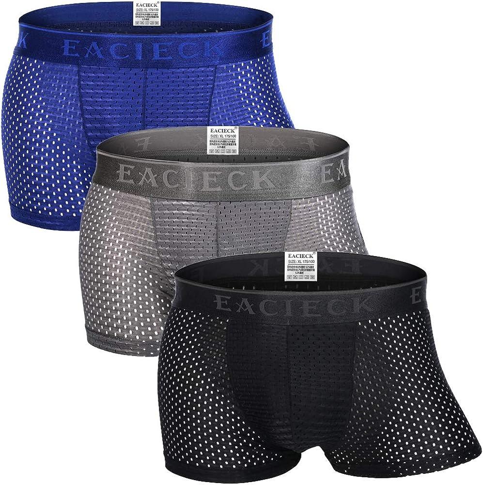 Herren Atmungsaktives Mesh Seide Boxer Shorts Unterwäsche Freizeit Unterhose