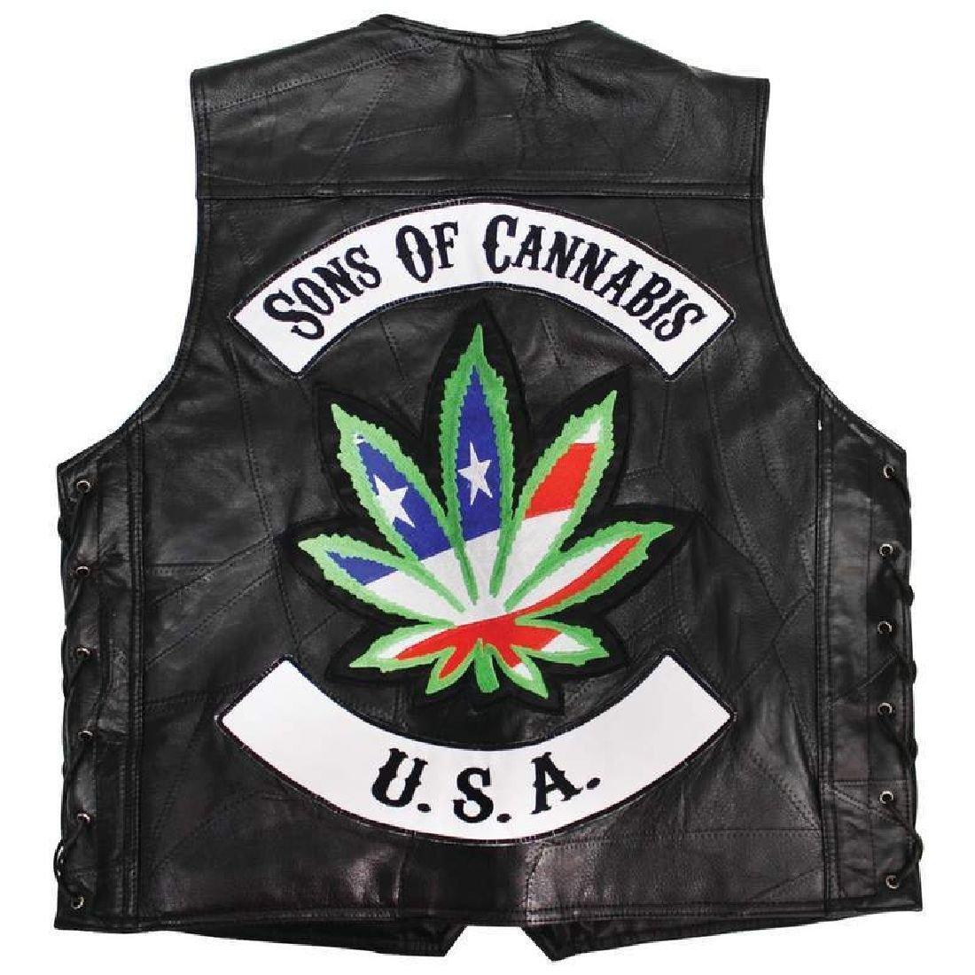 【50%OFF】 メンズブラック本革オートバイベストバイカーポットUSA Flag Flag (Men's) Size Marijuana Size (Men's) 3XL B0753DKYCL, パターアイランド:6ef1f579 --- a0267596.xsph.ru