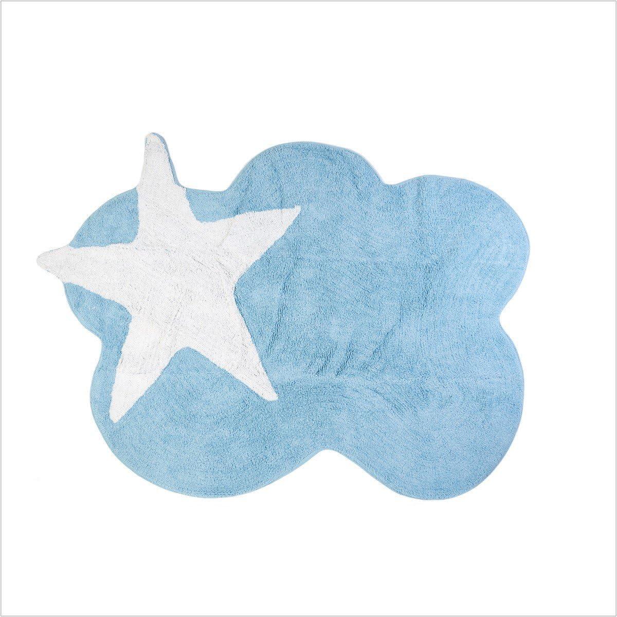 Lilipouce Alfombra Infantil algodón Nube Estrellas, Tela, Azul ...