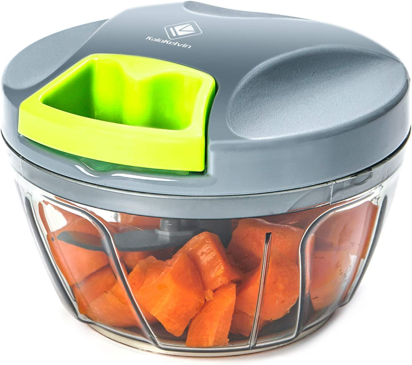 Kalokelvin Picadora Manual, Cortador de Verduras Mini Picadora Manual de Verduras/Ajo y Cebolla/Frutos Secos/Perejil/Carne, Picadora de Alimentos con Cuerda (400ML)