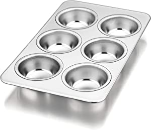 Muffin Pan Cupcake Baking Pan, P&P CHEF 6-Cups Mini Stainless Steel Muffin Tray, Metal Cupcake Pan for Cake Tart Brownie Quiche, Food Safety & Heavy Duty, Easy Release & Dishwasher Safe