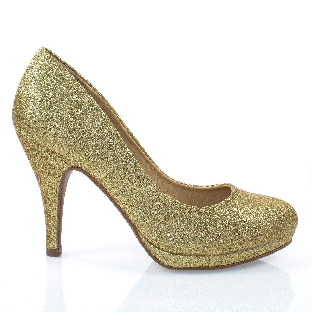Women's Classic Dress Pump W Extra Cushioned in Sole Round Toe & Platform,Goldglt,8 by City Classified (Image #2)
