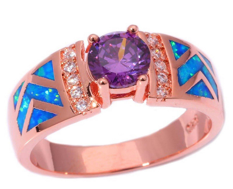 Cherryn Blue Opal Purple Zircon cubic zirconia engagement rings ...