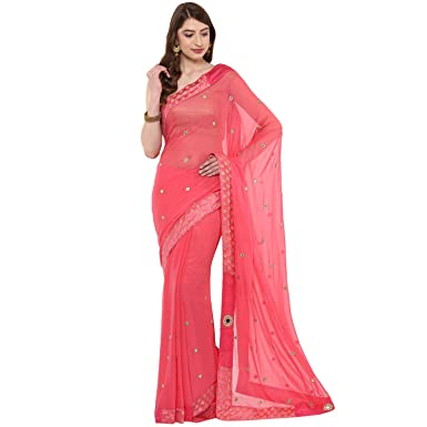 b1956635c93dbb Image Unavailable. Image not available for. Colour: Fasherati Peach Color  Chiffon Brocade Border Mirror Work Saree with Blouse ...