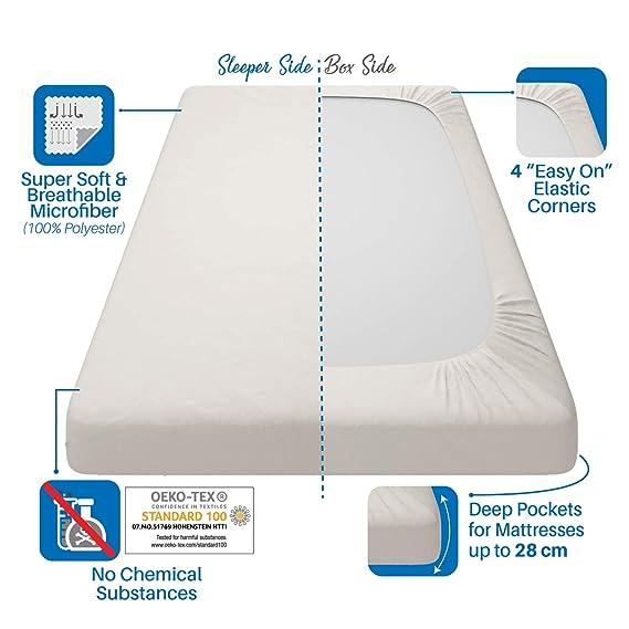 ⭐Sabana Bajera Ajustable 100% Poliéster Microfibra, 90 x 190/200 cm, Beige Satinado - Sin Producto Químico y Fabricado en Europa (Garantía 2 Años) ...
