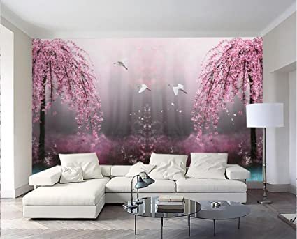Lqwx 3d Wallpaper Custom Photo Non Woven Mural Pink Dream Swan