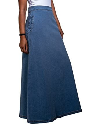 aef7e687b3 Lottie Long Denim Skirt - Palewash Maxi Jean Skirt with Stretch US ...