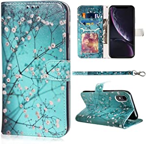 JanCalm Compatible with iPhone XR Wallet Case, Cute Floral Pattern Premium PU Leather [Wrist Strap] [Card Holder/Cash Slots] Stand Feature Flip Cover for iPhone XR Cases Girls Women (Plum Blossom)