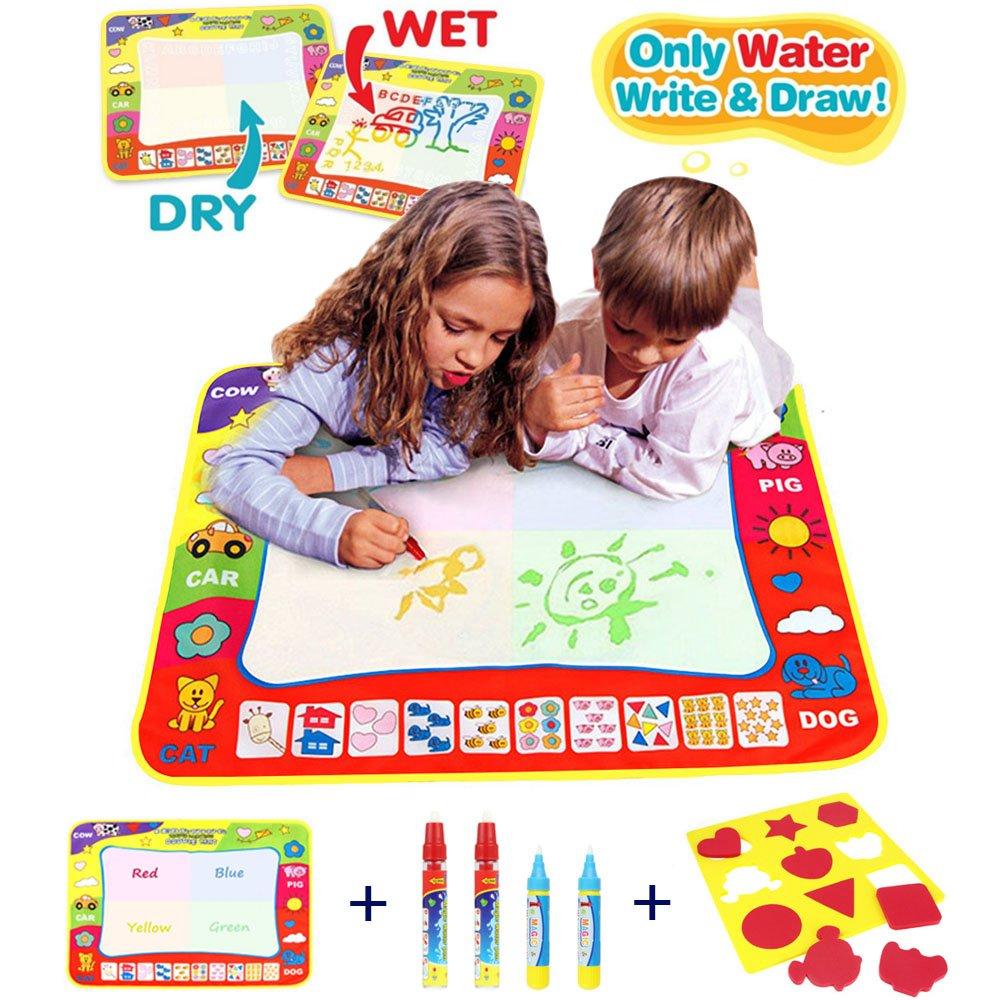 CJbrother Doodle del Aqua Niños 'Toy Juguetes Dibujo Mat Magic Pen Educativa 1 Mat + 4 Wate + 1 EVA Graphic