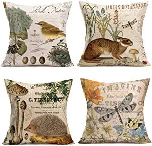 "Throw Pillow Covers Adorable Animals Rabbit Hedgehog Bird Butterfly Decorative Pillowcases Set of 4 Cotton Linen Square Throw Pillow Case Home Couch Decor Cushion Cover 18"" x 18"" (Animal Set)"