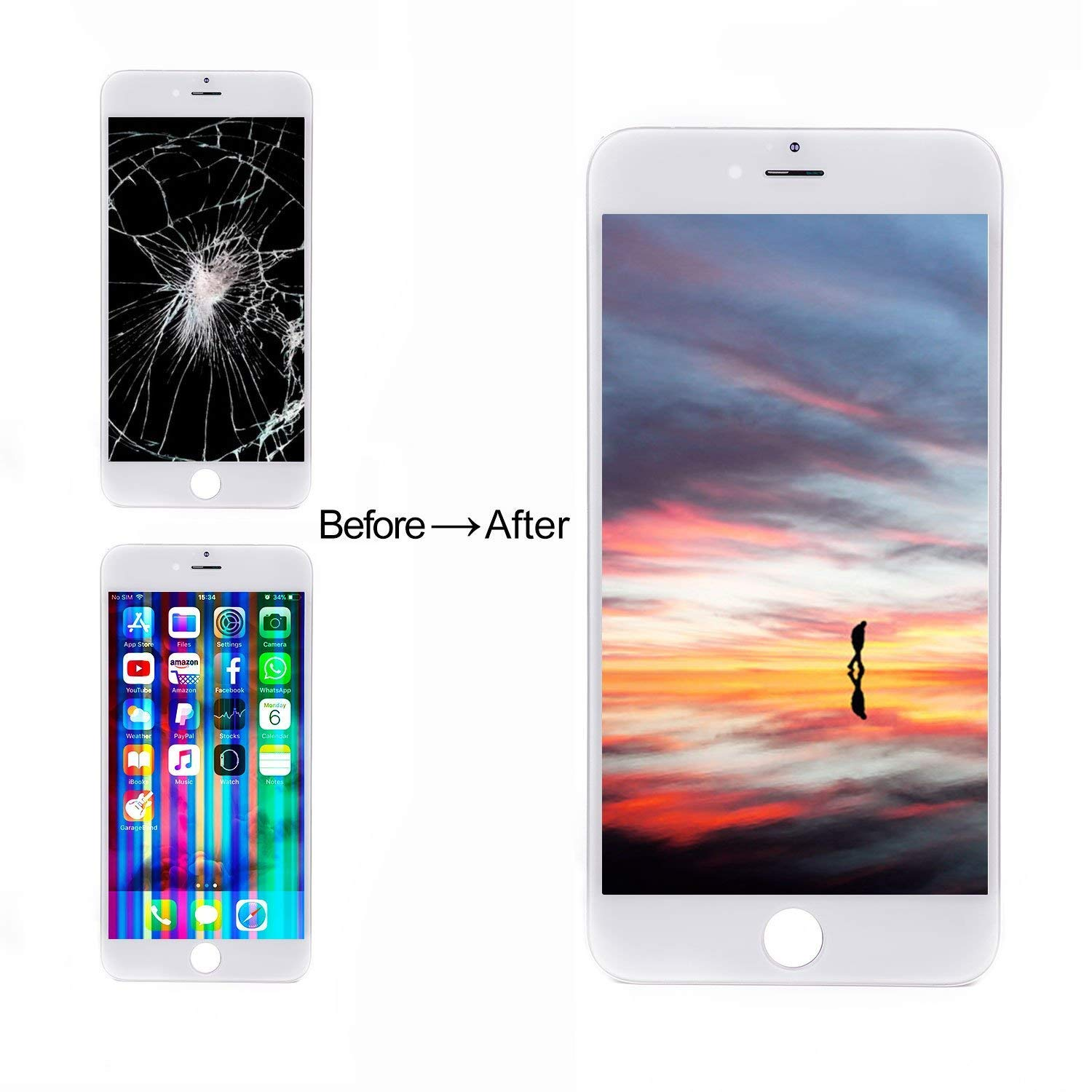 Screen Protector iPhone 8 Plus Screen Black Repair Tools Kit Earpiece Speaker LCD Display Touch Digitizer Assembly Replacement with Front Camera for iPhone 8 Plus Screen Replacement Black 5.5