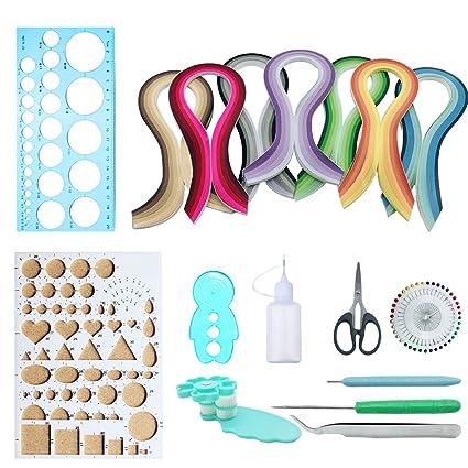 Kits de Papel Colores para Filigranas, Woohome Set de Papel de Filigrana con 10 Herramientas