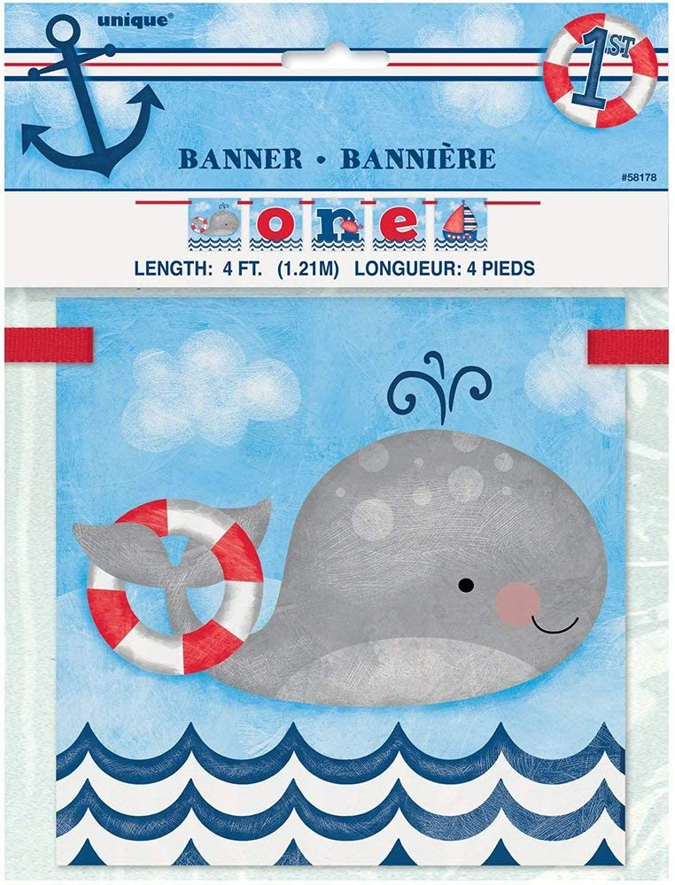 Unique Party 58178-4ft One Nautical Boys 1st Birthday Banner