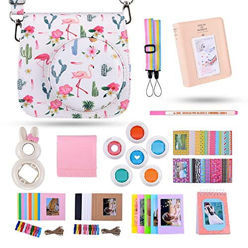Kaka 13 in 1 Instax Mini 9 Camera Accessories for FujiFilm Instax Mini 9 8 8+ Camera with Mini 9 Case/Album/Selfie Lens/Filters/Wall Hang Frames/Film Frames/Border Stickers/Pen(Pineapple)