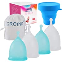 CROING Reusable Menstrual Cups Set of 4, Period Cup, 2 pcs Small and 2 pcs Large (Blue and White)
