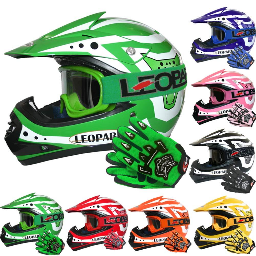 53-54cm Black L Leopard LEO-X17 Children Kids Motocross Dirt Bike Off Road Motorbike Helmet /& Gloves /& Goggles