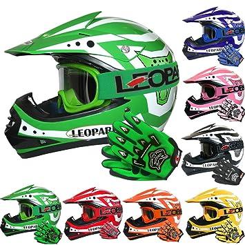 Blue S } Child Dirt Bike Motorocycle Helmet Clothing Suit S 5-6 Yrs Leopard LEO-X19 PREDATOR { Kids Motocross Helmet /& Gloves /& Goggles