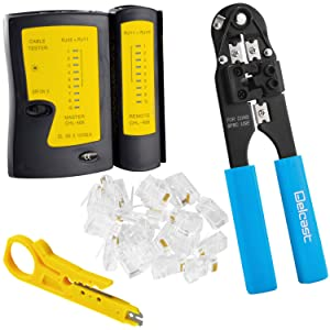 CAT5e/CAT6 Network Tool Kit, Includes LAN Data Tester, RJ45 Crimper, Cable Stripper/Punch Down Tool and 50 RJ45 Connectors