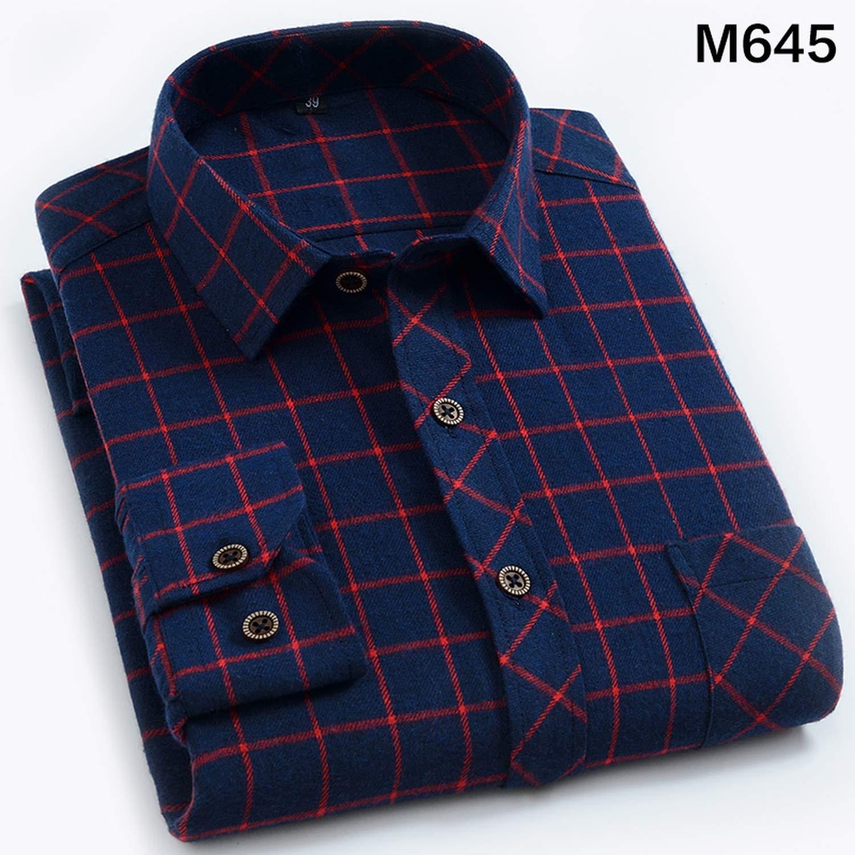 Flannel Plaid Shirt Men Cotton 2019 Male Casual Long Sleeve Shirt Plus Size