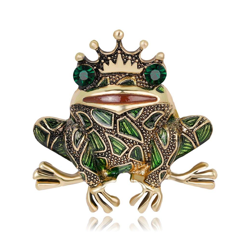 AOCHEE Vintage Big Metal Rhinestone Frog Brooch Enamel Green Crown Frog Brooch Pin Jewelry (Style1) by AOCHEE