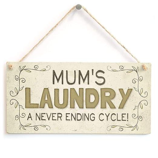 Mr.sign Mums Laundry Cartel de Pared Madera Placa Madera ...
