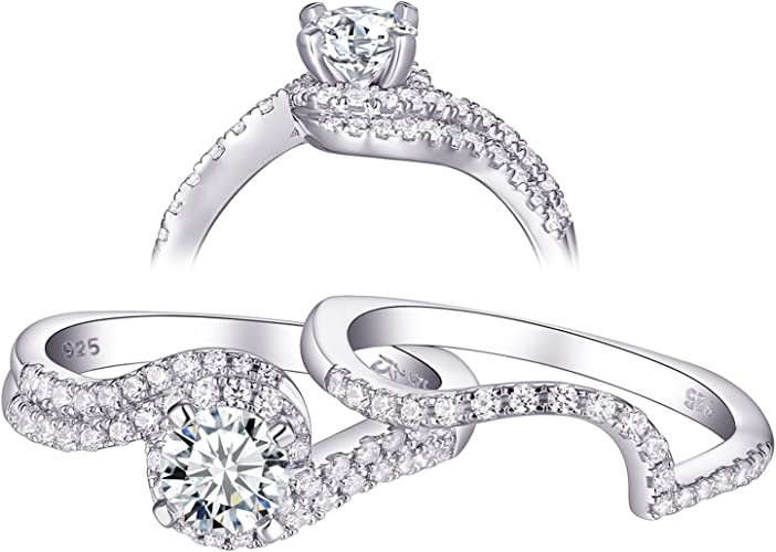 Newshe Vintage Wedding Engagement Ring Set for Women Round White Cz 925 Sterling Silver Size 5-10