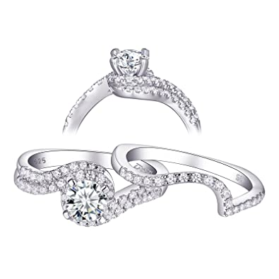 Other Rings 1.20 Ct Diamond Engagement Ring Set 925 Sterling Silver Wedding Band Set Size M