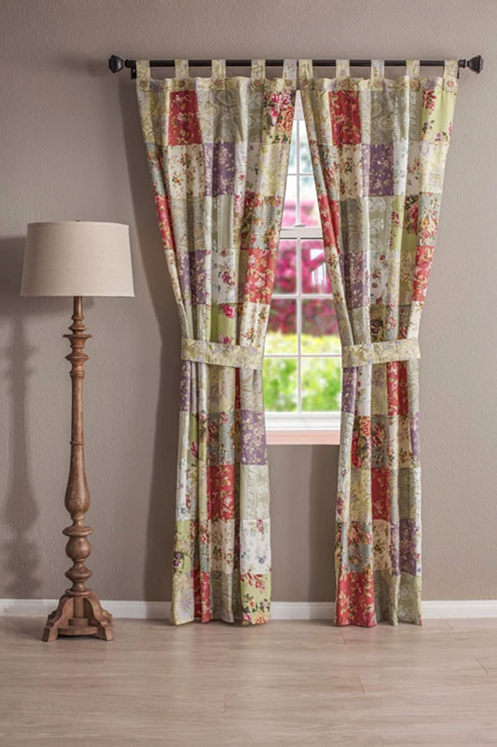 Greenland Home Fashions Blooming Prairie Patchwork Tab Top Drapery Pair & Valance Set