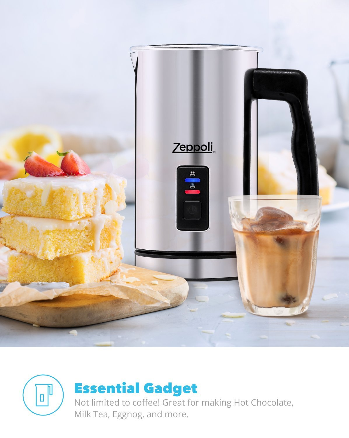 Zeppoli Milk Frother and Warmer - Automatic Milk Heater, Electric Milk Steamer and Milk Foamer | Great as a Latte Frother and Cappuccino Maker for Coffee and Hot Chocolate - Comes With a Silicone Scraper by Zeppoli (Image #7)
