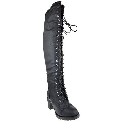 8bb2040736b Shoe Dezigns Illusion 01 Ok Womens Thigh High Lace up Chunk Heel Combat  Boots Black 6