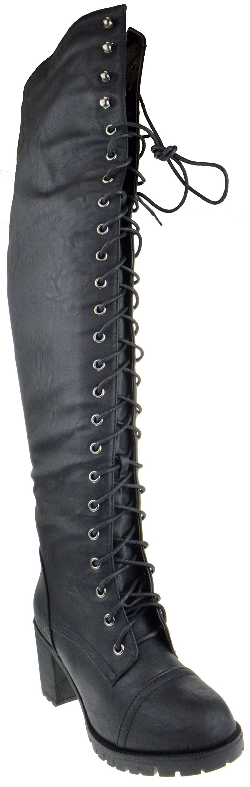 Shoe Dezigns Illusion 01 Ok Womens Thigh High Lace up Chunk Heel Combat Boots,Black,8.5