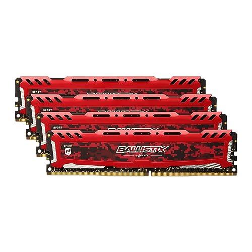 Crucial Ballistix Sport LT BLS4K8G4D240FSEK 2400 MHz DDR4 DRAM Memoria Gamer Kit para ordenadores de sobremesa 32 GB 8 GB x 4 CL16 Rojo