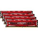 Ballistix Sport LT BLS4C8G4D240FSEK  32Go Kit (8Gox4) (DDR4, 2400 MT/s, PC4-19200, SR x8, DIMM, 288-Pin) Mémoire - Rouge