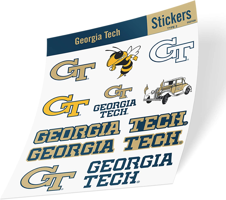 Georgia Tech University NCAA Sticker Vinyl Decal Laptop Water Bottle Car Scrapbook (Type 2 Sheet)